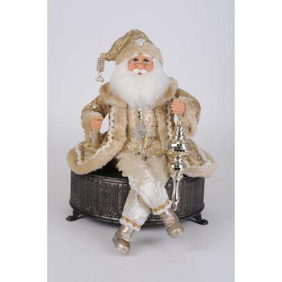 Velvety Cream and Gold Posable Santa