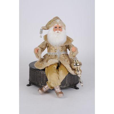 Glitzy Gold Posable Santa