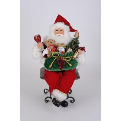 Lighted Gifting Wine Sitting Santa