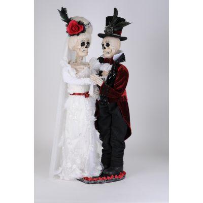 Lighted White Wedding Skeleton Couple
