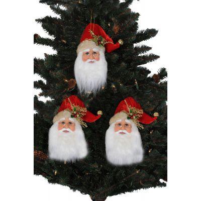 3pc. Santa Head Ornaments