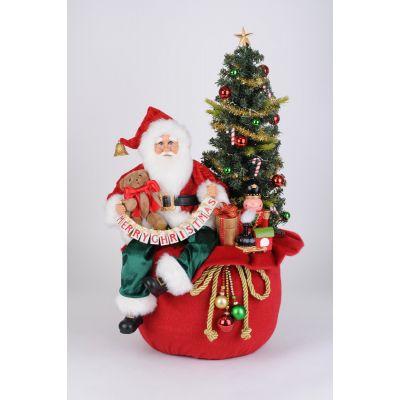 Lighted Merry Christmas Toy Bag Santa