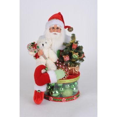 Lighted ELf Santa on Ornament Box